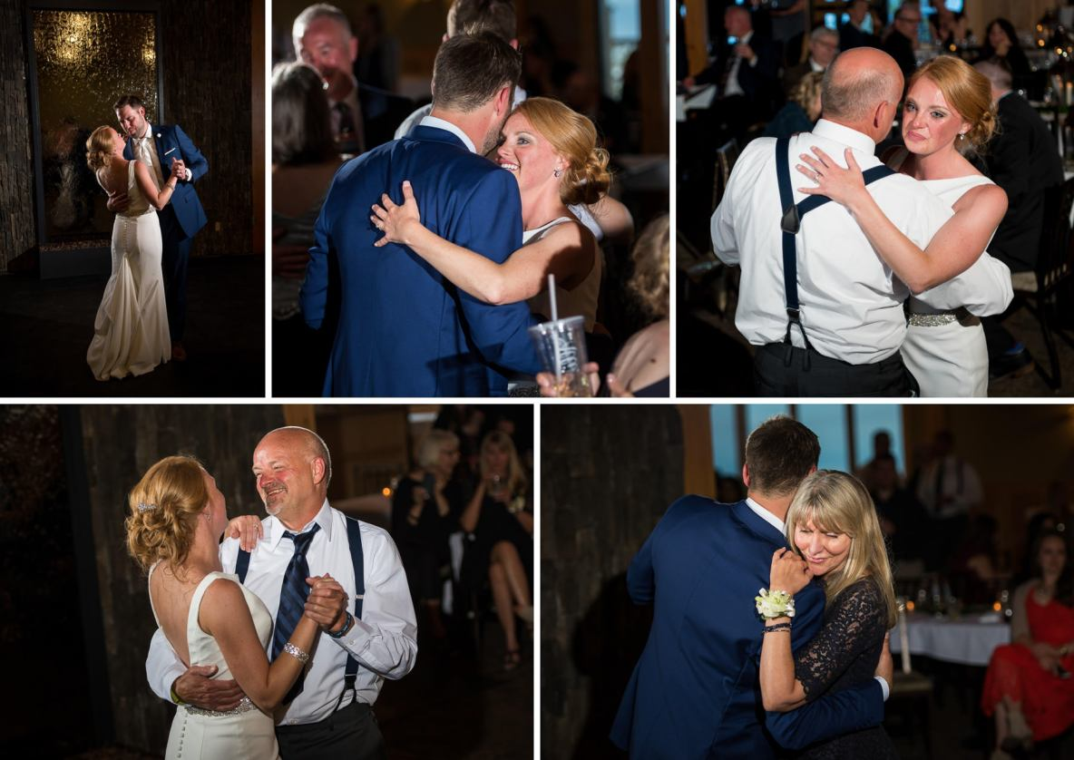 Photos of the dance, including the bride and her father and the groom and his mother.