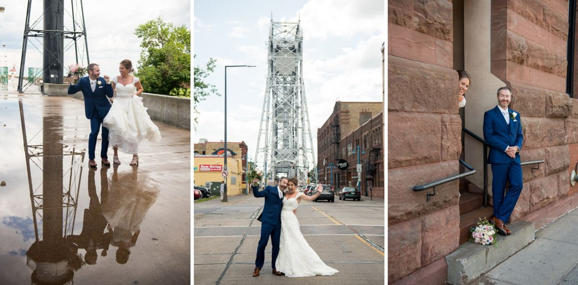 Photos of the bride and groom on the street with the lift bridge in the background, and rain water reflecting off the pavement.