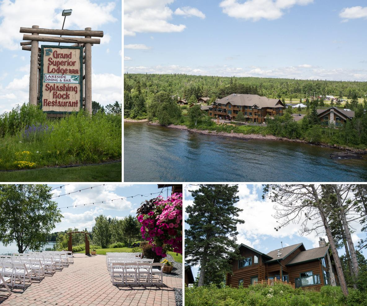 Outdoor wedding on the shores of Lake Superior--photos of lodge on the lake.