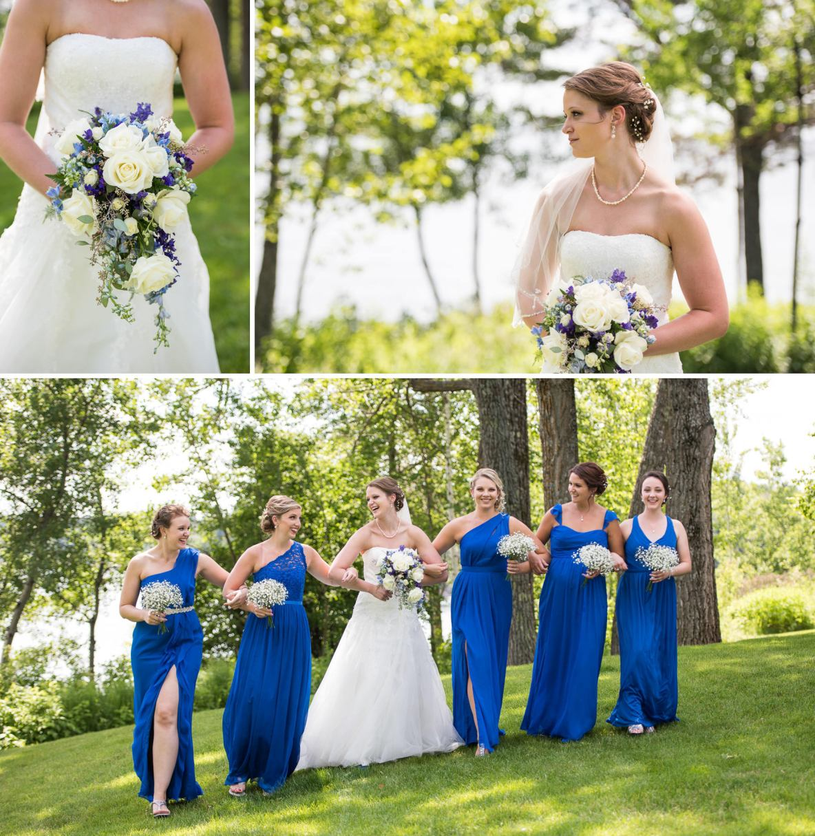 Photos of the bride and her bridesmaids in royal blue outdoors.