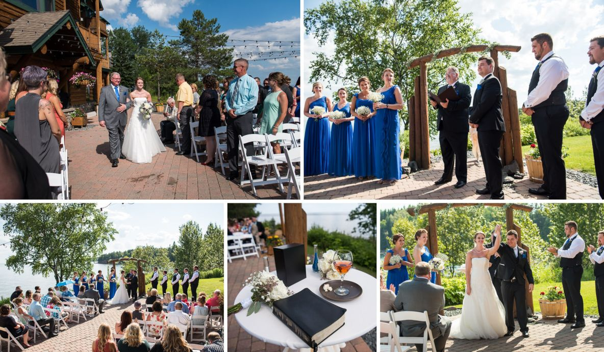 "Outdoor wedding ceremony photos--Photo of father walking bride down the aisle, and the couple saying ""I do."""