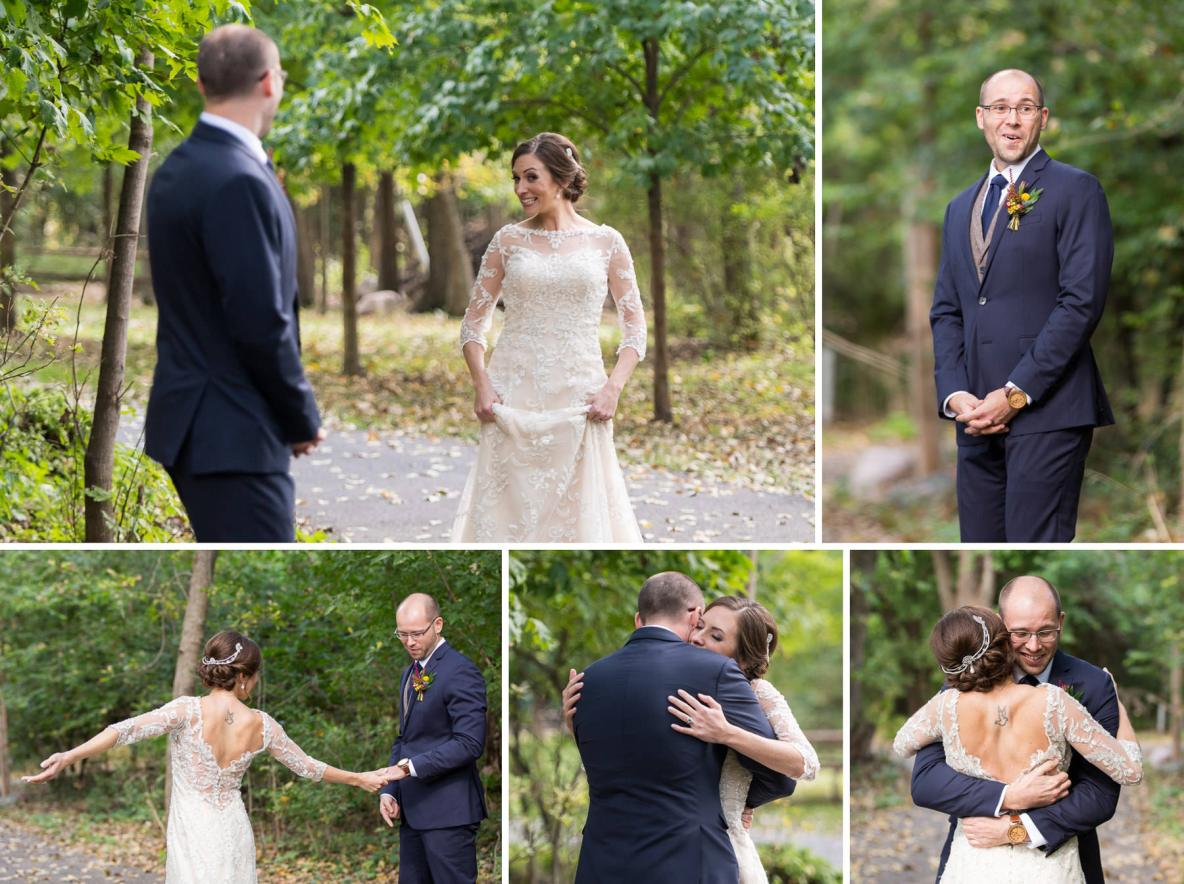 First look photos on wedding day outside with green trees in background.