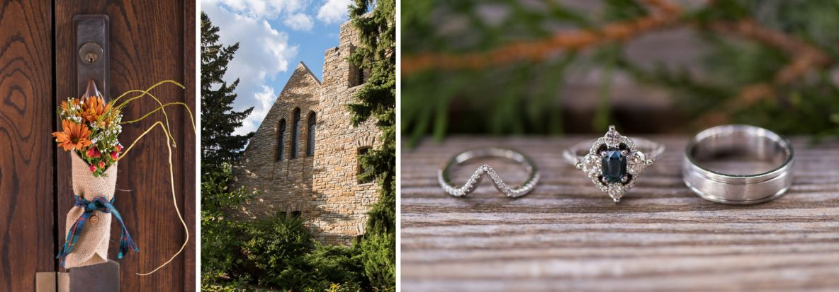 Detailed shots of rings, church and flowers on wedding day.