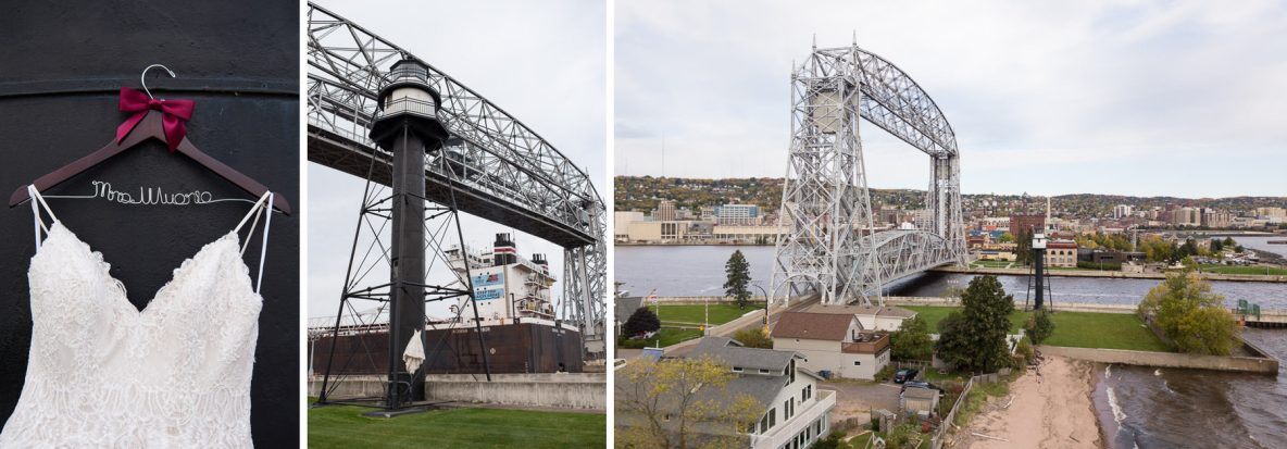 Photos of the lift bridge and wedding dress.