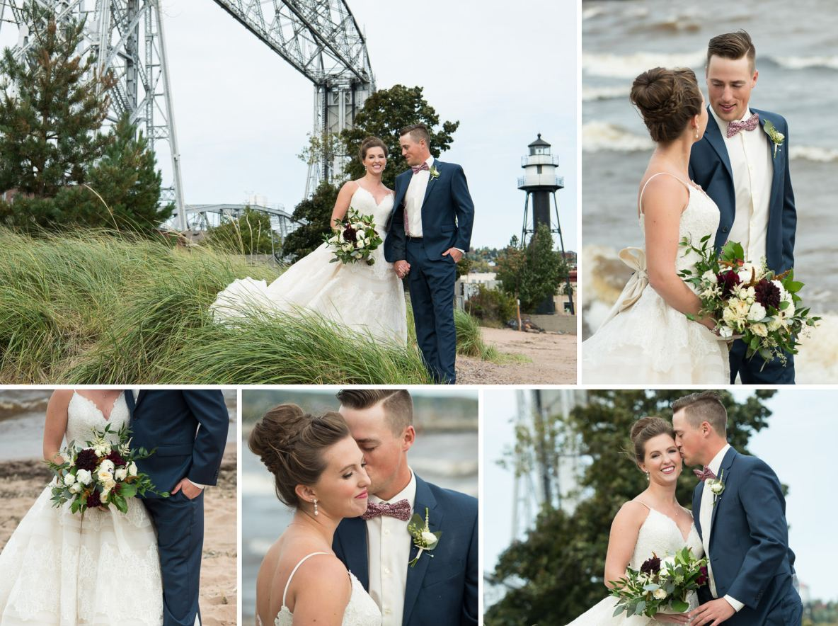 Bride and groom photos next to the lift bridge and Lake Superior.