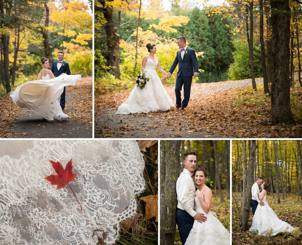 Bride and groom outside in the fall colors.