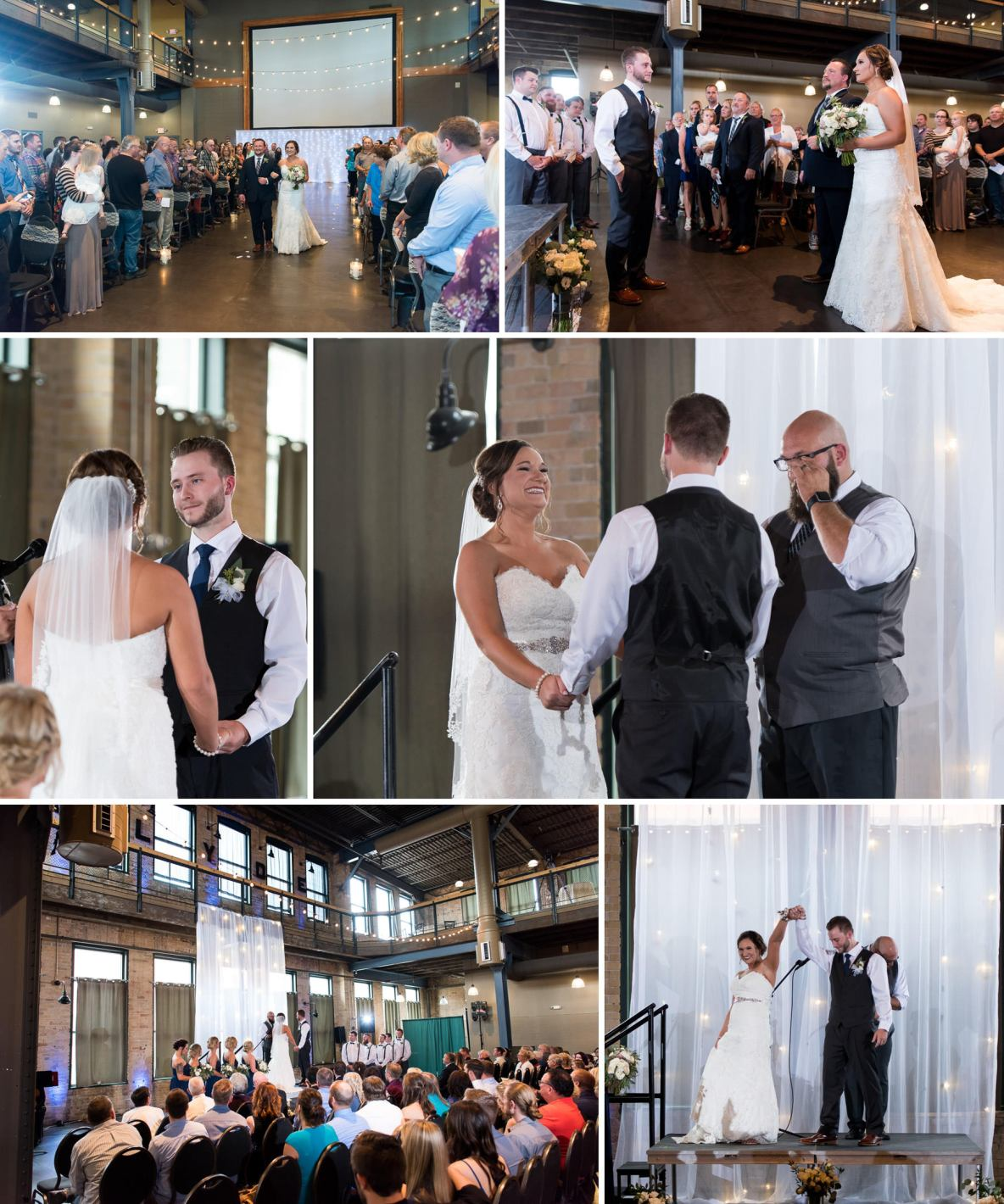 Photos of the indoor wedding ceremony.