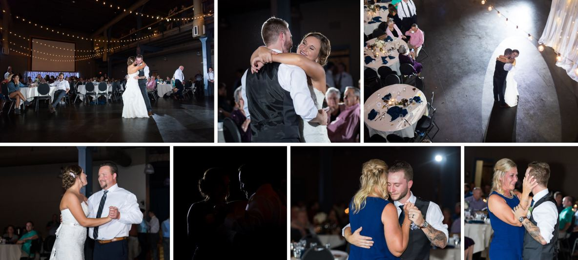 Photos of the wedding dance, including the groom and his mom, and the bride and her father.