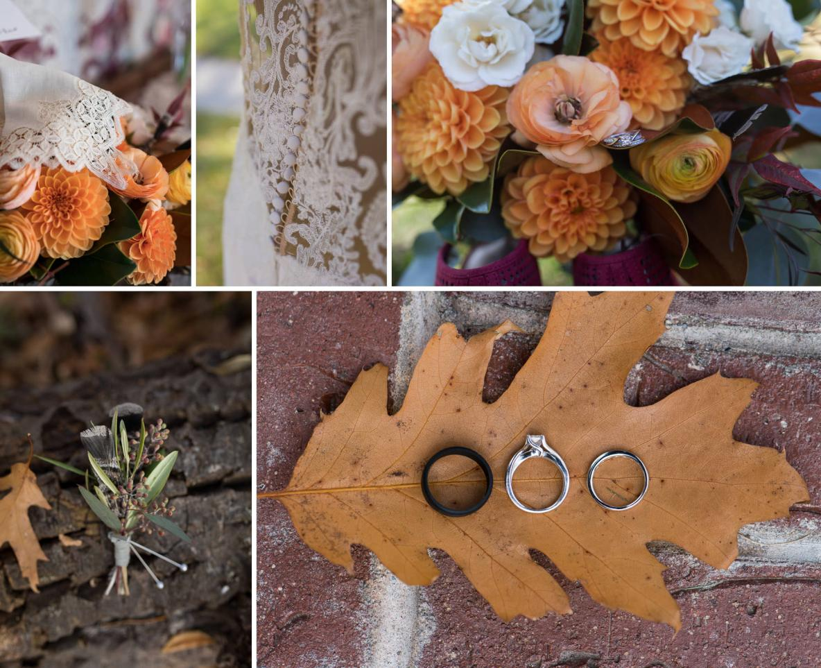 Wedding details in the fall colors, including pictures of rings, flowers, and wedding dress.