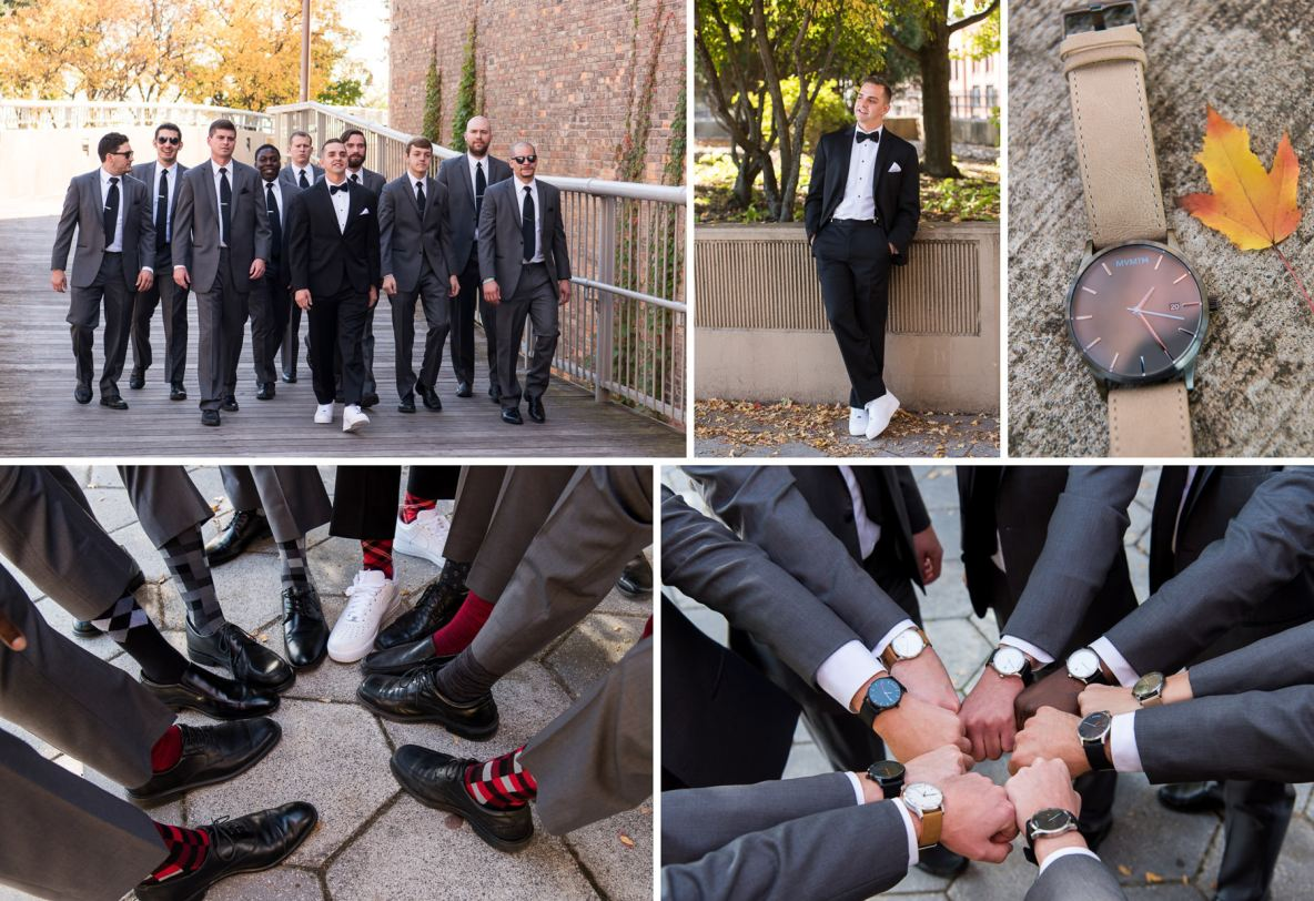 Photos of the groomsmen and the groom outside, photos of shoes and watches included.
