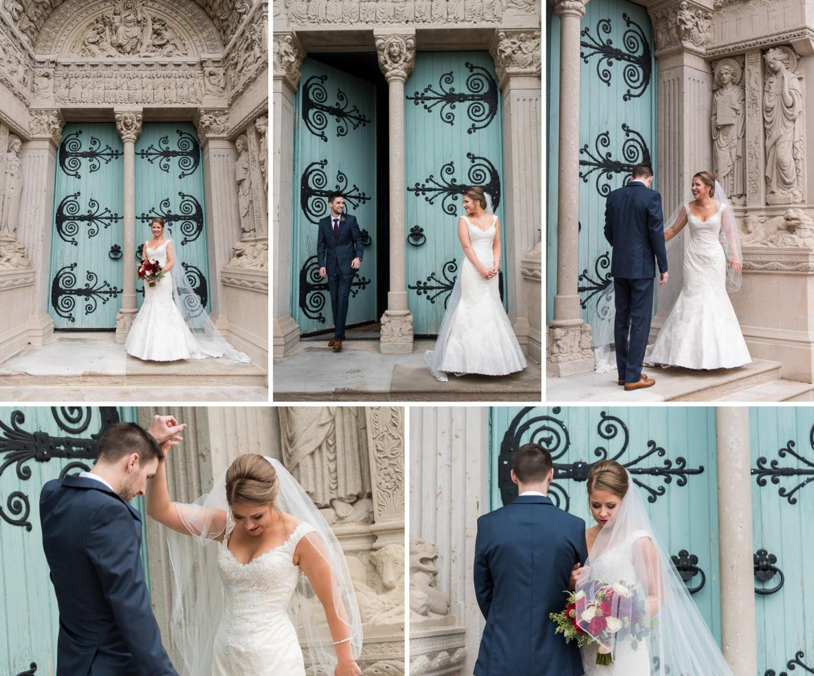 Bride and groom portraits outside St. Kate's University.