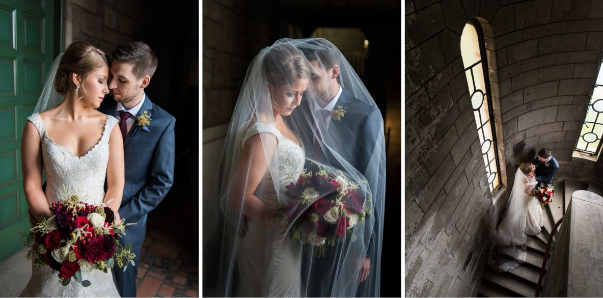 Bride and groom portraits in stairwell illuminate by window.