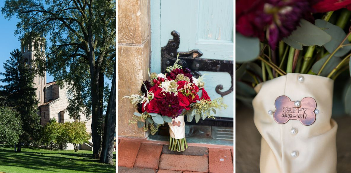 Wedding day details, including photos of the flowers and venue.