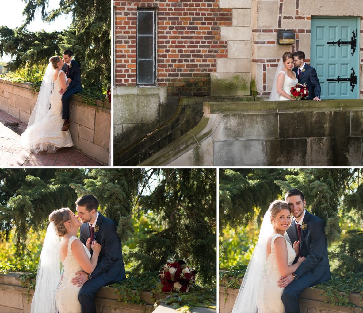 Bride and groom photos on wedding day outside in nature with brick building in background.