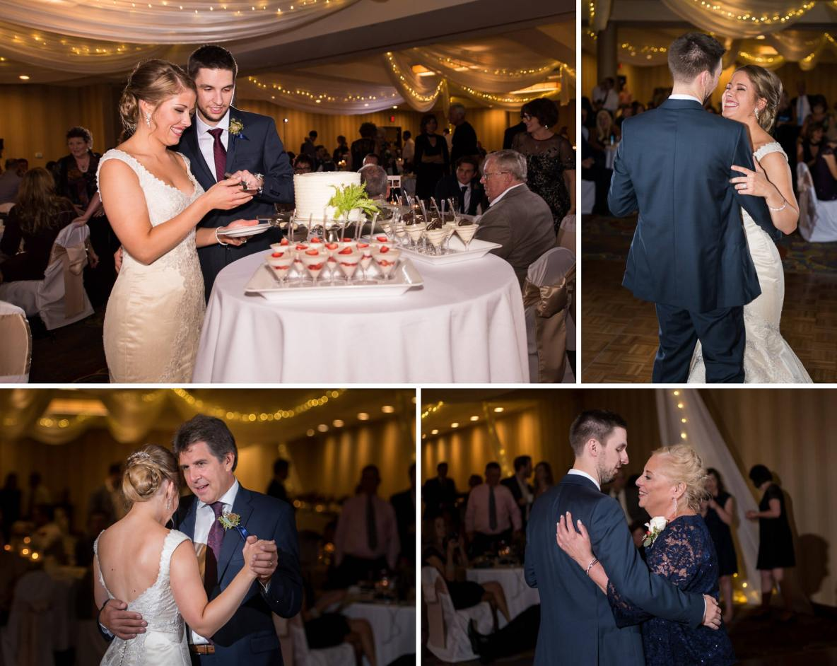 Photos of the wedding reception, including photos of the dance, and cutting of the cake.