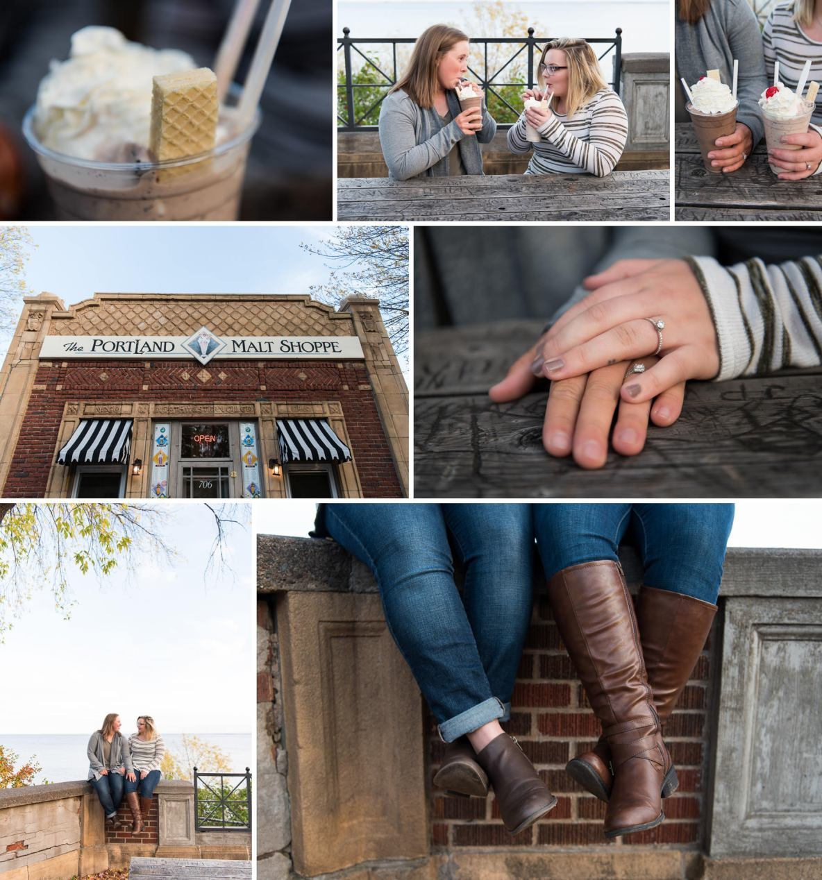 Engagement photos at the Portland Malt Shoppe in Duluth, MN.