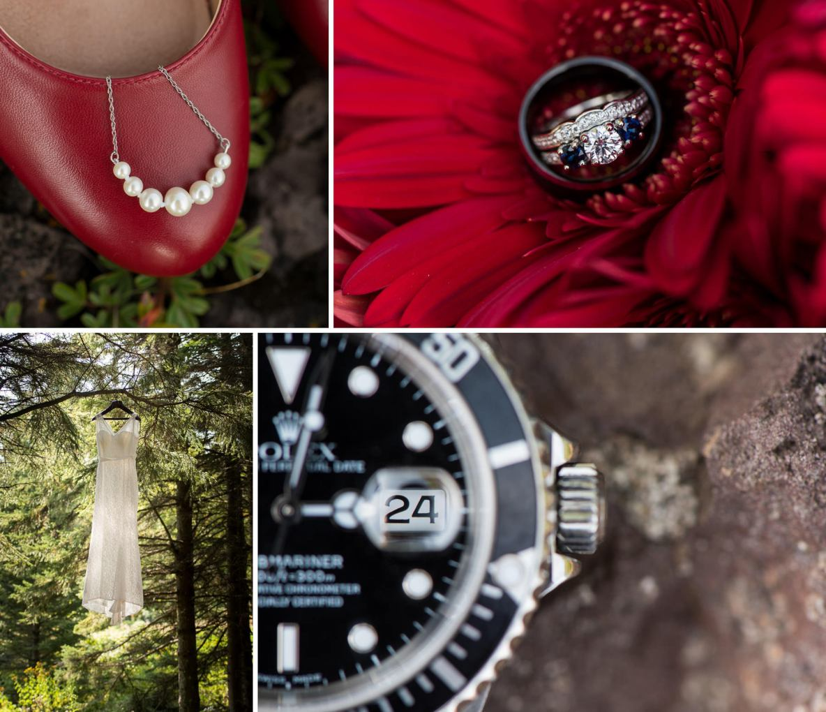 Photos of the bride's shoes, dress and rings.