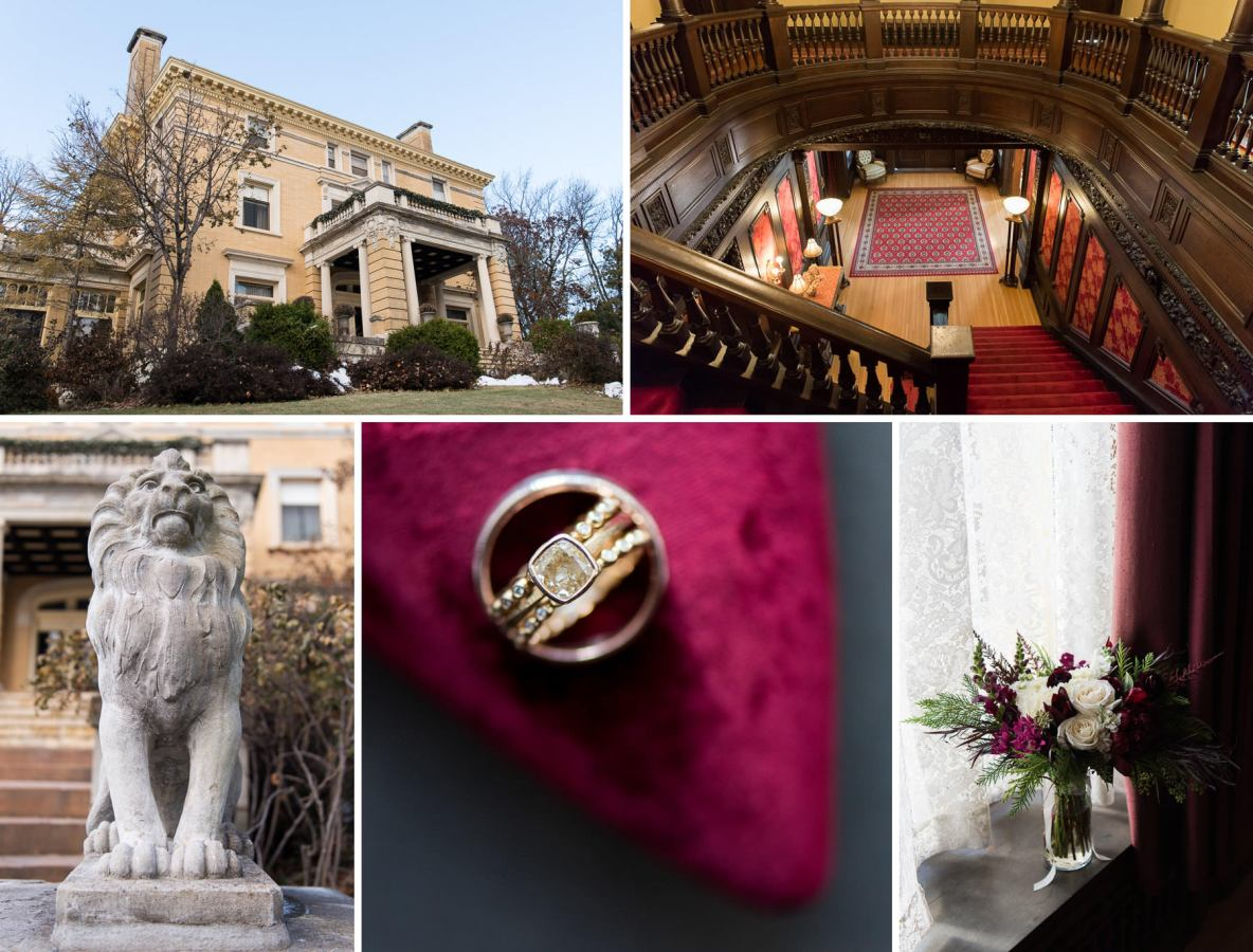 Photos of the Cotton Mansion, including statues, rings, flowers.