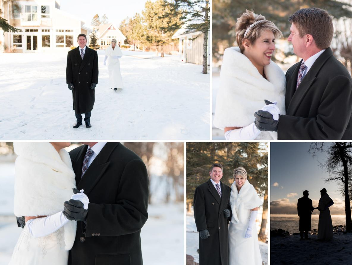 Photos of the bride and groom outside in winter with snow in the background.