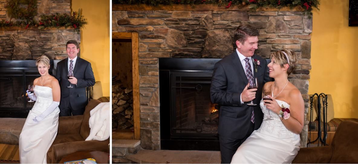 The bride and groom at the wedding venue with fireplace in background.