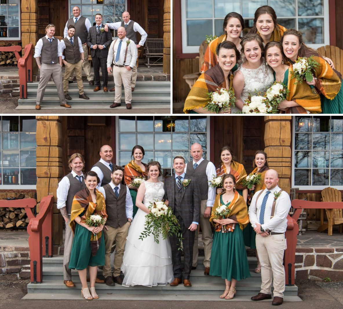 Photos of the wedding party outside.