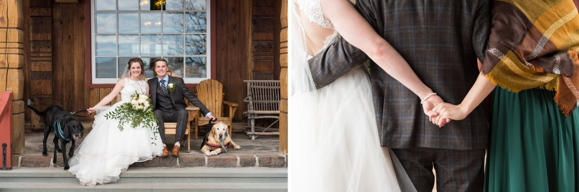 Photos of the bride and groom outside with their dogs, as well as a photo of holding hands.