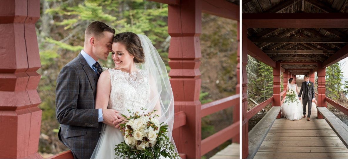 Photos of the bride and groom walking on a bridge across a river.