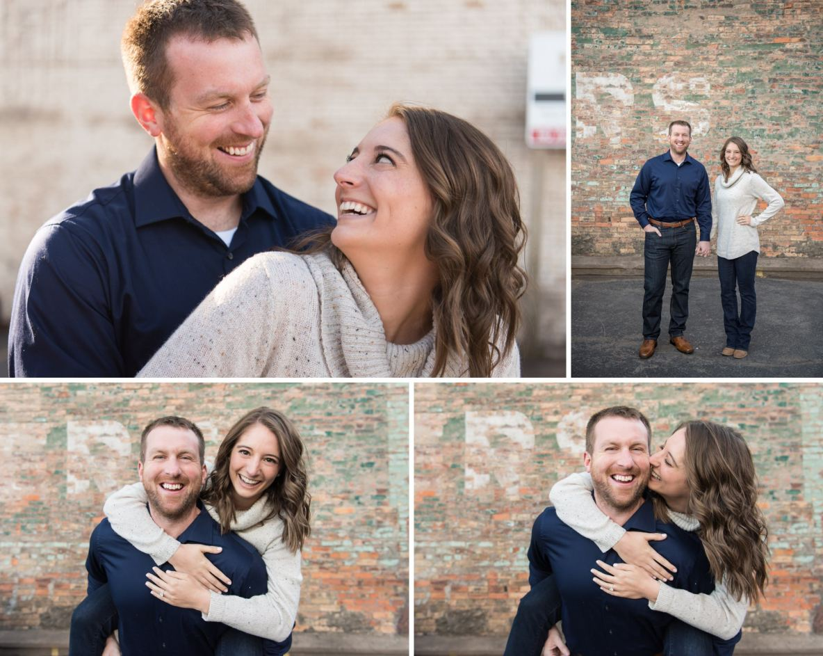 Photos of the engaged couple with brick wall in background.