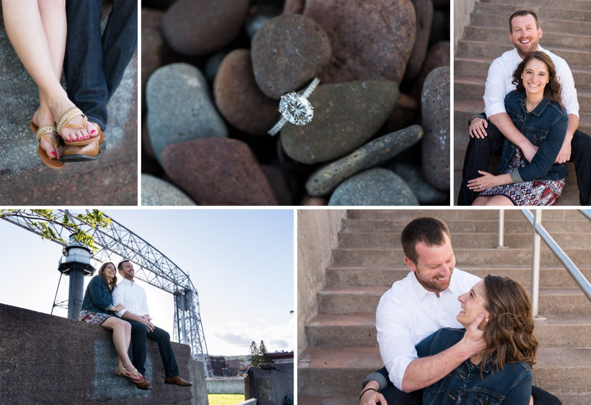 Photos of the engaged couple in Canal Park with bridge in background.