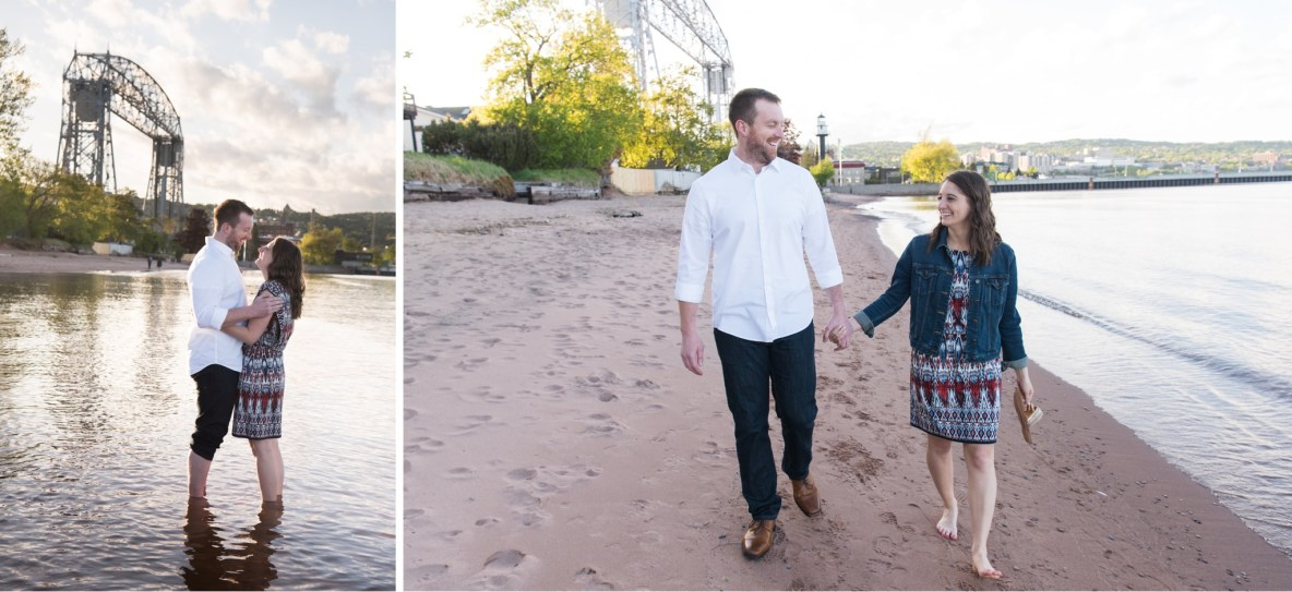 Photos of the engaged couple walking on the beach and standing in the lake.