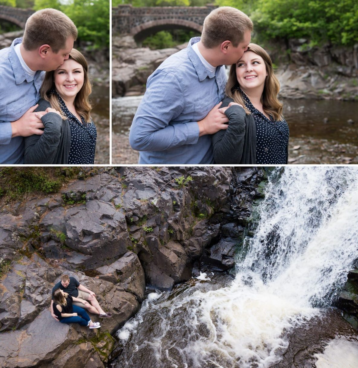 Photos of the engaged couple by waterfall.
