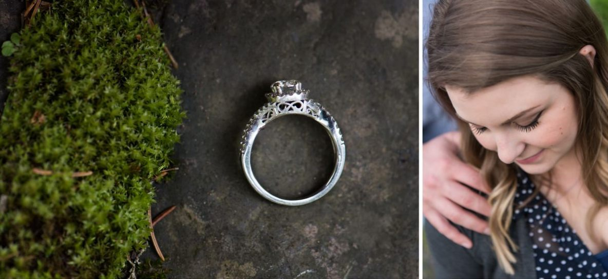 Photos of the ring and soon to be bride outside in nature.