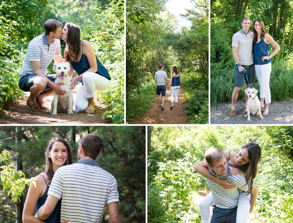 Photos of the engaged couple walking in the park.