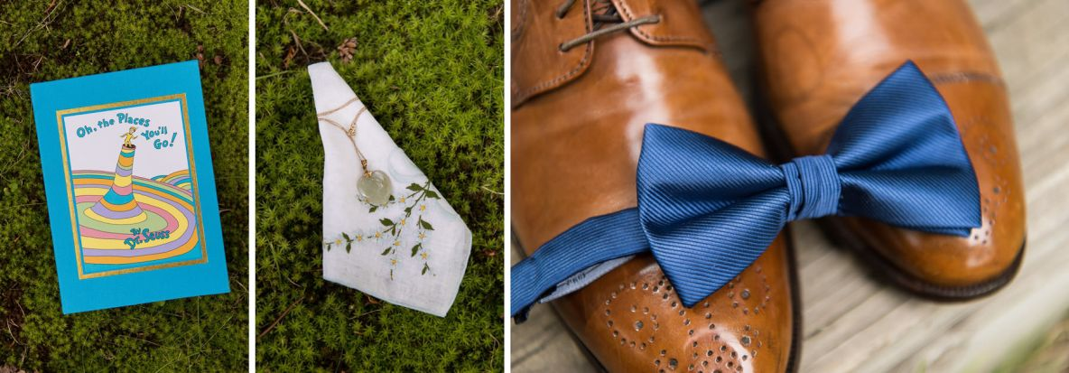 Details of wedding day, including photos of shoes and ties.