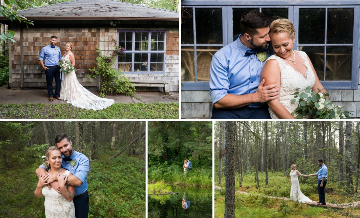 Photos of the bride and groom outside on wedding day