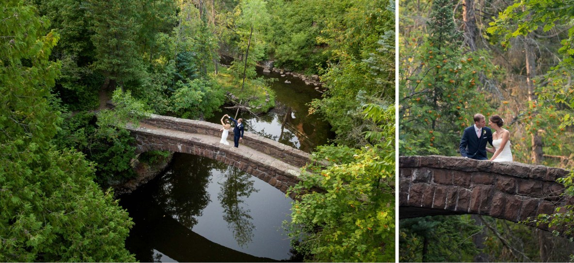 Jon and Kelli dance on the stone arch bridge at Glensheen Mansion. '