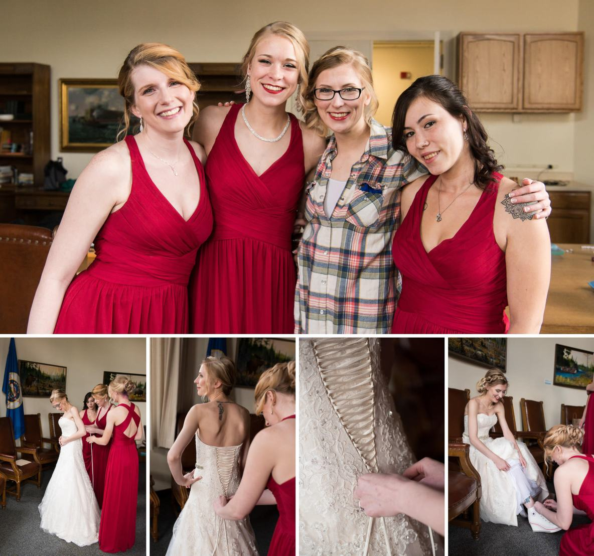Maddie and the bridesmaids.