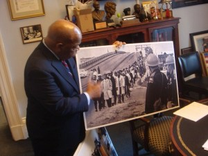 Rep. Lewis With Photo of Selma March