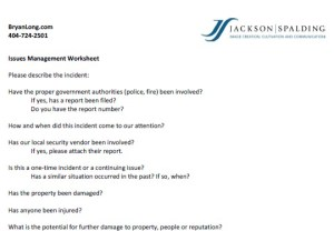 Issues Management Worksheet