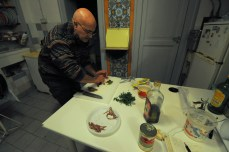 """Guiseppe making pasta alla puttanesca from """"You Have to Go to Venice"""""""