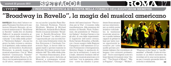 """Newspaper except from Italian Newspaper Roma. Then came """"Broadway In Ravello"""". Produced by West Hartford Community Theater, I was a featured dancer in this Broadway revue show that premiered at the Auditorium de Oscar Niemeyer in Ravello Italy."""