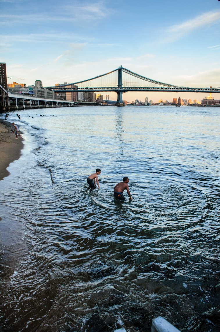 Kids swimming in the East River