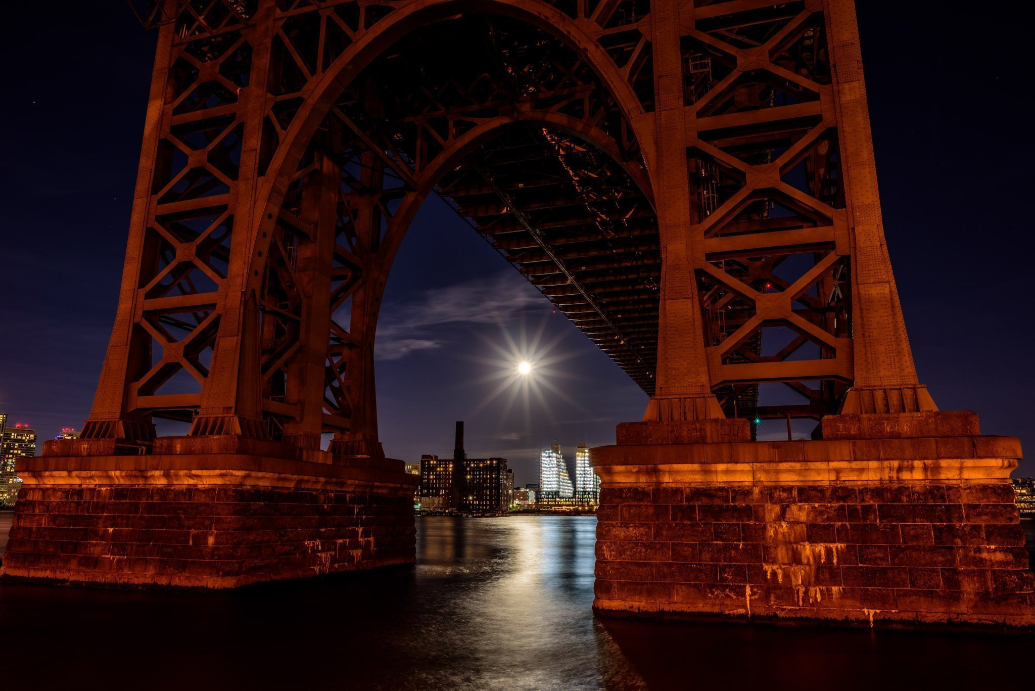 full moon and the Williamsburg Bridge