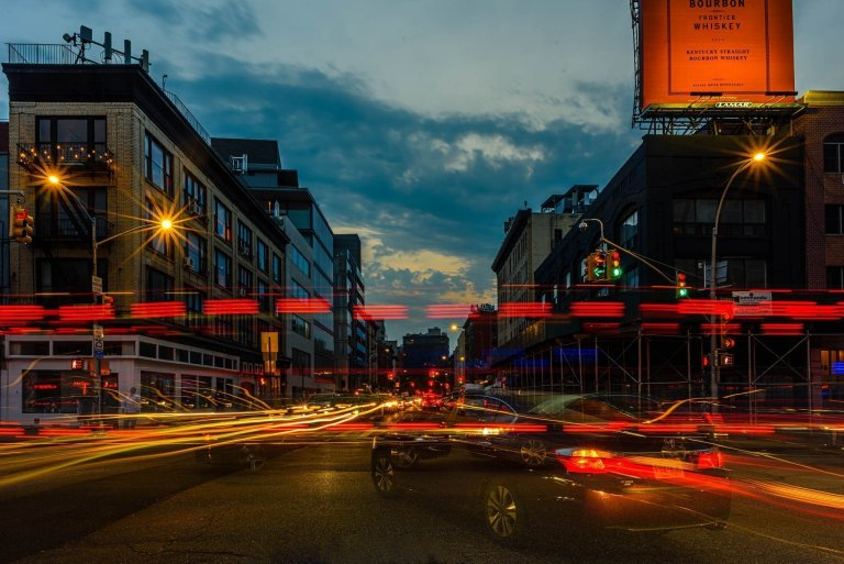 Light trails downtown nyc