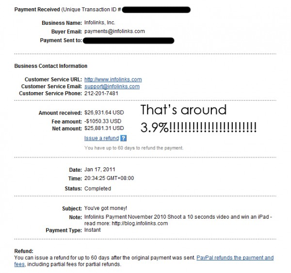 Huge Paypal Fees in Infolinks Payouts – Bryan Veloso