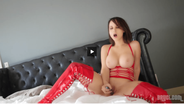 bryci fishnet lingerie thigh high pvc boots glass dildo solo masterbation video free