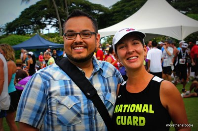 Amy and I at the finish of the 4th Annual Kaua'i Marathon. GO GUARD!