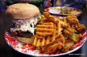 carolina burger with slaw and waffle fries