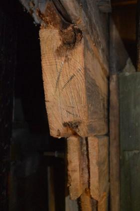 De originale skjøtene har en tapp. Vi gjør det samme når vi lafter inn det nye tømmeret. Vi borer ut tapphull i det gamle tømmeret