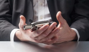 Businessman-Revolver business man's burn-out